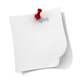 White note paper with red push pin.  Stock Photo