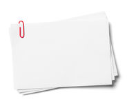White note papers with red clip. royalty free stock photos