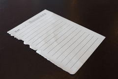 White note papers for your message on grunge wood Stock Image