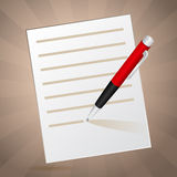 White note and red pen Stock Images