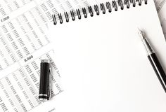 White notebook top view, office supplies Royalty Free Stock Photos