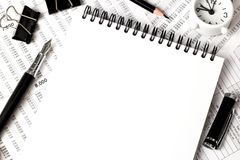 White notebook top view, office supplies Royalty Free Stock Photography