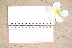 White notebook with frangipani flower on the sand Stock Photos
