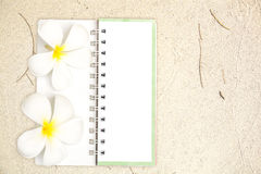 White notebook with frangipani flower on the sand Royalty Free Stock Images