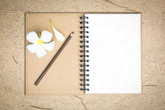 White notebook with frangipani flower on the sand Stock Image