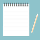 White notebook with lines can shred and pencil. vector illustrat Royalty Free Stock Images