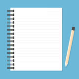 White notebook with lines can shred and pencil. Royalty Free Stock Photo