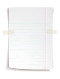 White notebook paper with lines Stock Image