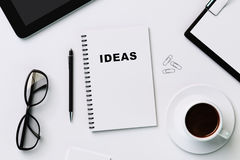 White notebook for recording ideas Stock Photography