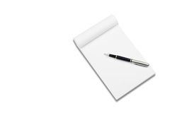 White notebook with stylish pen Stock Photos