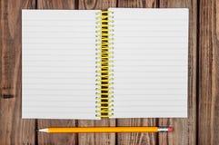 White Notepad Wood Background Stock Images