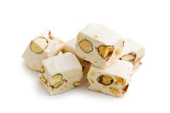 White nougat with almonds Royalty Free Stock Image