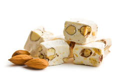White nougat with almonds Stock Photo