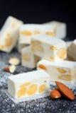 White nougat with almonds Royalty Free Stock Photos