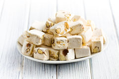 White nougat with almonds Stock Photography