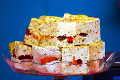 White nougat background, Oriental sweets. eastern market. Royalty Free Stock Images