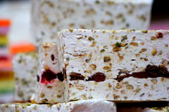 White nougat background, Oriental sweets. eastern market. Stock Photography