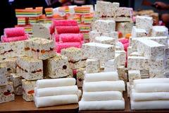 White nougat background, Oriental sweets. eastern market. Stock Photo