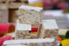 White nougat background, Oriental sweets. eastern market. Royalty Free Stock Image