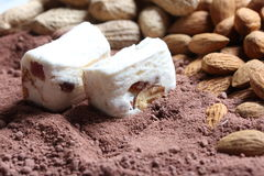 White nougat in cacao Royalty Free Stock Images