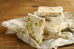 White nougat with different nuts Stock Photos