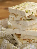 White nougat with different nuts Royalty Free Stock Photography