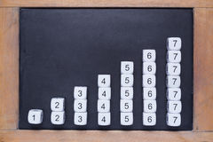 White number dices on small chalkboard stock photos