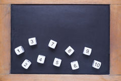 White number dices on small wooden framed chalkboard Royalty Free Stock Photography