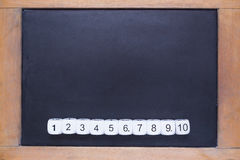 White number dices on small wooden framed chalkboard Royalty Free Stock Image
