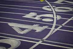 Indoor Track and Field Lanes with Numbers Stock Photos