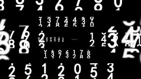 White numbers on black. Zoom out from white numbers on black background, seamless loop 3d animation royalty free illustration