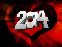 2014 white numbers on a red background Royalty Free Stock Photos