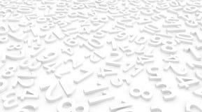 White Numbers Twelve. Numbers arranged symbols many white on surface, 3d illustration, horizontal Royalty Free Stock Image