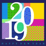 2019 white numerals designed with random colorful patterns with Happy New Year text. At the base of the artwork royalty free illustration