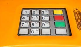 White numeric keypad. On the automatic money exchange machine Stock Photography