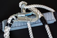 White nylon rope and carabine. Stock Photography
