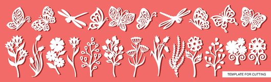 Set of twigs, flowers, butterflies and dragonflies. Plant theme. royalty free illustration
