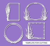 Set of beautiful photo frames with lavender flower ornaments. royalty free illustration