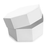 White octagon shaped box Stock Photos