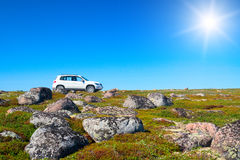 White off-road vehicle on peak of green hill Stock Image