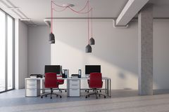 White office interior, red chairs. White office with columns, a concrete floor, panoramic windows and computer desks with red chairs. 3d rendering mock up Stock Photos