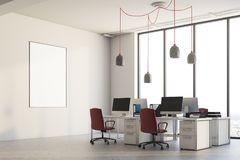 White office corner, red chairs, poster. White office corner with columns, a concrete floor, panoramic windows and computer desks with red chairs. A poster. 3d Stock Photography
