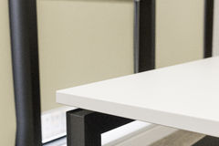 White office corner table. Great for designer for placing products on the white space royalty free stock photography