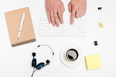 White office desk with computer and supplies. Tabletop. Top view with space for your text.  royalty free stock photos