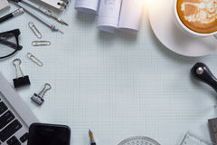 White office desk table with of architect. Top view. With copy space Stock Photos