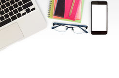 White office desk table with laptop computer Royalty Free Stock Photos