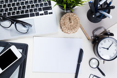 White office desk table Royalty Free Stock Image