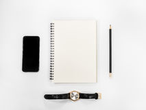 White office desk table with a lot of things. Top view with copy space Stock Image