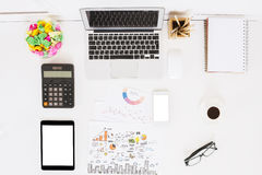 White office desktop with objects Stock Photography