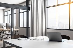 White office interior. White desktop with laptop and coffee cups in modern office interior with curtains and city view. 3D Rendering vector illustration